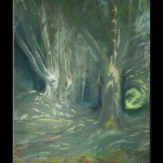 Pastel Painting Landscape, Forest Landscape, Edouard Pannetier (1884-1965)