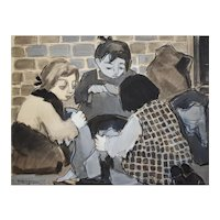 Watercolor Scene Painting, French Vintage Artwork, Félicie Engrand (1889-c.1983)
