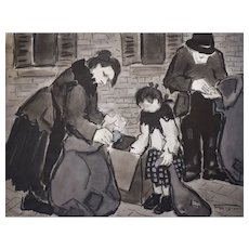 Scene Painting Watercolor, French Vintage Artwork, Félicie Engrand (1889-c.1983)