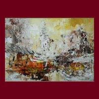 Abstract Painting, Original Vintage Landscape, William Allister (1919-2008)