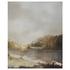 Oil Painting Landscape, Original River Painting, Signed JF Mayer Circa 1970