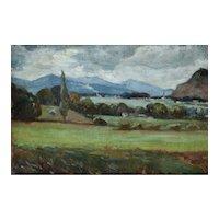Oil Painting Landscape, Framed Study French Landscape , Marius Gueit (1877-1956)