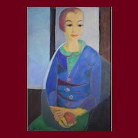 1950 Young Woman Portrait, Original French Painting, Geneviève Duboul