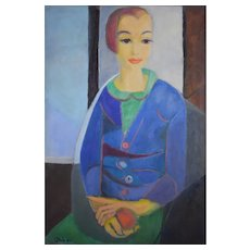 1950 Young Woman Portrait, Original French Painting, Geneviève Duboul (1913-2007)