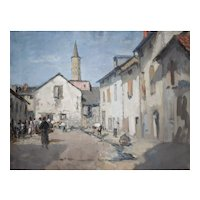 Oil on Canvas Village Painting, Animated Market Scene, French School Circa 1920