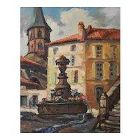 Vintage Painting Landscape, French Village Square Painting, Robert Pavard