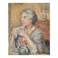 1910s Antique Oil Painting, 20th-Century Portrait Of A Woman, Albert Sardin
