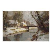 1930s Vintage Oil Painting, Kees Terlouw, Impressionist Winter Landscape