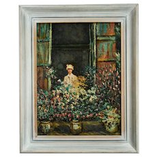 Vintage Oil Painting, Camille at the Window, After Claude Monet, Ca. 1960