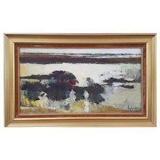 Oil Painting Landscape, French Vintage Painting, 1970's Anne Gacon Artwork