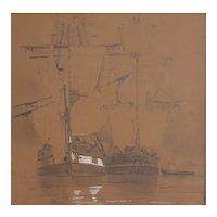 19th Century Drawing, Framed Sailboats Artwork, Louis Bentabole