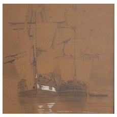 Louis Bentabole (1822-1880), Original Ship Drawing Painting