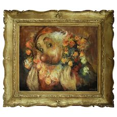 1970s French Vintage Oil Painting, Clown with Flowers Portrait, Minsk (1923)