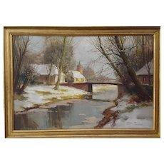 Kees Terlouw, Impressionist Winter Landscape, 1930s Vintage Oil Painting