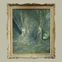 Edouard Pannetier, Vintage Forest Landscape, 1930's Framed Pastel Painting