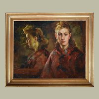 1940's Oil on Canvas Painting, Young Woman Portrait, Karel Cnockaert