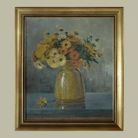 Peter Pulm, Still Life Flowers Painting, 1916 Oil on Canvas Painting
