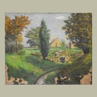 1910's Landscape Painting, Oil on Canvas, To be Restored, Albert Muhlemann