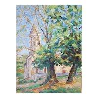Mid Century Oil Painting, French Vintage Landscape, François Sauvageot