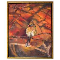 Bird Cardinal Oil Painting, Original Oil on Canvas, Monique Michaud
