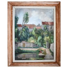 Vintage Oil Painting, French Village Scene Painting, Claire Demartinecourt