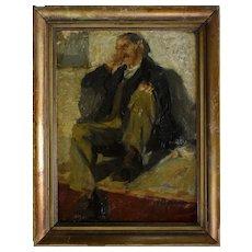 Oil Painting Portrait, 19th German School, Seated Man Portrait, Circa 1890