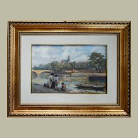 1927 Oil Painting Landscape, Paris View Scene Painting, Adolphe Deplanches