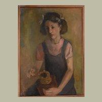 Circa 1940 Girl Portrait, Oil Vintage Painting, Jan Van de Vreyde