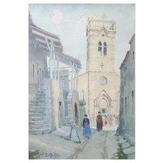 Ernest Berthier (1873-1967), Vintage French Watercolor Painting