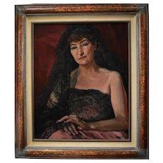 1943 Oil Painting, Elegant Woman Dancer Portrait, Listed Artist André Delfau