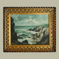 Impressionist Landscape, Oil on Canvas Coastal Painting, Paul Henri Renier