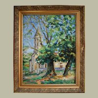 Mid-Century Oil Painting, French Vintage Landscape, François Sauvageot