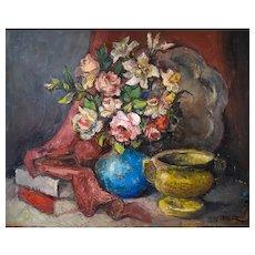 Flower Still Life, Oil Painting Vintage, Alexis Hinsberger, Circa 1970