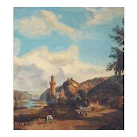 19th Century Animated Landscape Painting, Oil on Canvas to be restored, Circa 1830