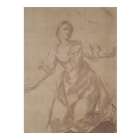 17th Century Woman Portrait, Original Italian Drawing