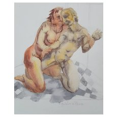 Nude Painting Circa 1990, Modern Watercolour Painting, Roger Coppe