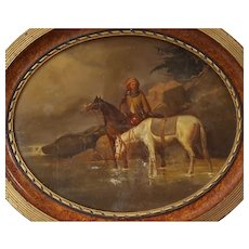 19th Century Scene Painting, Framed Oval Horses Oil Painting, To be Restored