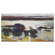 Anne Gacon (1913-1987), c1970's French Vintage Lake Painting