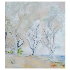 French Vintage Watercolor Painting, Landscape Watercolor Painting Dated 1955