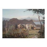 Jonathan Zutter (1928-1998) French Village Landscape Oil Painting, 1978