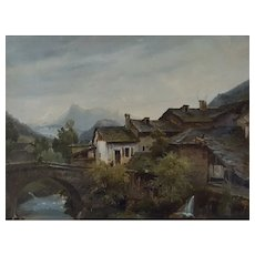 19th Century Oil on Canvas Landscape, Mountain Village Painting, Circa 1835