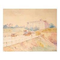 Original Watercolor Painting,  Old Paris View, Circa 1900, Francis Garat