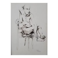 Roger Coppe (1928-2012), Nude Male Painting, Original Watercolor Pencil Drawing