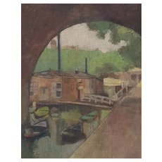 Oil Landscape Painting Canal under a Bridge – French School – Circa 1910