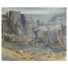 Jean Baptiste Fourt (1924-1998), French Vintage Oil Painting Landscape, 1948