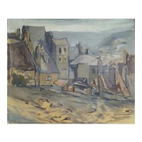 Oil Painting Landscape, 1948 French Vintage Painting, Jean Baptiste Fourt