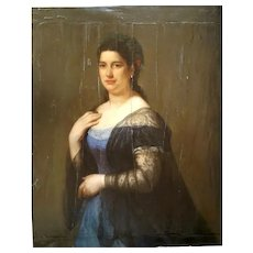 19th Century Portrait of a Lady,  Oil on Wood Painting Portrait, to be Restored