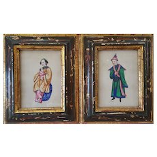 19th Century Watercolor Painting, Two Chinese Portraits on Rice Paper, Qing Dynasty