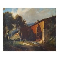 19th Century Landscape Painting, French Mill Oil Painting, To be Restored