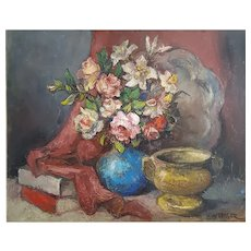 Alexis Hinsberger (1907-1996), Large Vintage Still Life Oil Painting